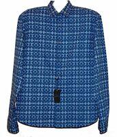 Z-Zegna-AUTHENTIC Men's Blue Geometric Cotton Botton Up Shirt Sz 2XL Slim Fit
