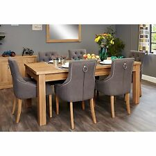 MoBEL Solid Modern Oak Furniture Extending Dining Table Six Luxury Chairs Set