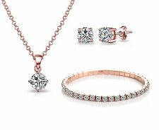 3Pc Rose Gold Solitaire Set with Crystals from Swarovski® in Gift Pouch