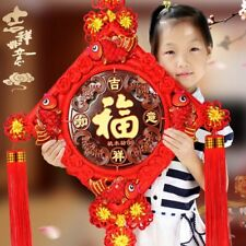 Large Chinese Handmade Knot Wall Pendant With Peach Tree Wood Plaque Lucky Charm