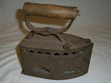 Antique Charcoal Sad Iron Box Coal Fired Top Lid Wood Handle Vtg Household Tool