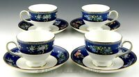 Wedgwood England BLUE SIAM LEIGH FOOTED CUPS AND SAUCERS Set of 4 Mint