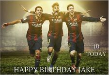 LARGE A5 GLOSSY PERSONALISED NEYMAR MESSI AND SUAREZ BIRTHDAY CARD
