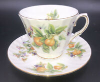 Duchess Fine Bone China FRUIT Tea Cup & Saucer Set England Pear Pears Grapes