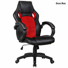 Executive Swivel Racing Office Chair Computer Desk Seat High Back Red PU Leather