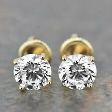 1.00 Carat Round Cut Diamond 14K Solid Yellow Gold Stud Earrings For Women's
