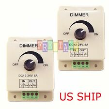 2X Manual Dimmer Switch for LED Strip Light, 12V 8A Mountable with Terminals