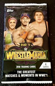 TOPPS WWE ROAD TO WRESTLEMANIA 2018 4 CARD HOBBY PACK RARE! NEW! SEALED!