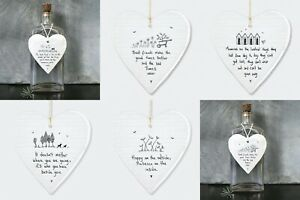 East of India Porcelain Heart Plaque Sentimental Friendship Family Baby Sign