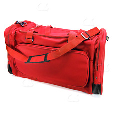 Large Duffel Gym Bag in Red Canvas 26x11x13 Overnight Travel / Sports NEW_312-57