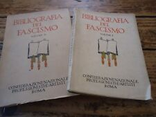 BIBLIOGRAFIA GENERALE DEL FASCISMO 2/2 VOL ITALIEN 1933 REPERTOIRE LIVREFASCISME