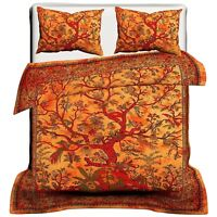 Bedding Set Double Quilt Duvet Cover Mandala Tree of Life Yellow Indian Bedding