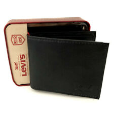 New LEVI'S Mens Black Leather Bifold Wallet (RFID Protection) Gift Boxed
