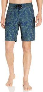 "Men's Swim Boardshort 9"" Inseam Flap Cargo Pocket Size 33 Green Parrot Print"