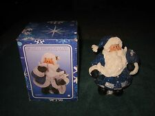 "ROYAL BLUE GLITTER SANTA HOLDING A BAG OF GIFT 6"" MADE OF RESIN IN ORIGINAL BOX"