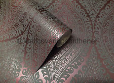 STUNNING Plum & Grey With Silver Glitter, Damask Design, Blown Vinyl Wallpaper