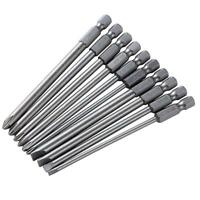 10pcs/set 100mm Alloy Steel S2 Slotted Phillips Screwdriver Bits Batches
