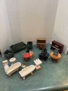 Large Lot Of Vintage Wooden & Porcelain Doll House Furniture 16 PCs.