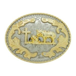 PRAYING COWBOY BELT BUCKLE WESTERN RODEO FASHION HORSE FAITH CROSS RELIGIOUS