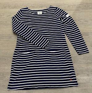 Ladies JOULES Quinn Navy White Nautical Striped Tunic Dress UK 12 EU 40 US 8