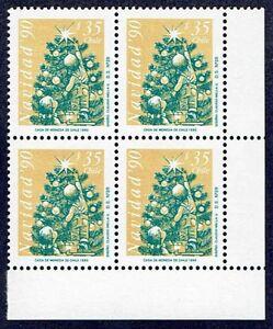 CHILE 1990 STAMP # 1486 MNH BLOCK OF FOUR CHRISTMAS 90' CORNER OF SHEET