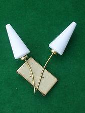 APPLIQUE 2 LAMPE TÔLE PERFORé MODERNISTE métal DORé DESIGN 50 60 CIRCA 1950