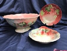 Limoges Antique Red Currants punch or deep Fruit bowl  w bon bon dish plate set