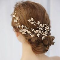 1Pc Metal Bridal Headpiece Clip Pearl Leaf Tiara Headband Hair Jewelry
