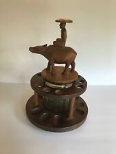Vintage Wood Carved Tobacco Smoking Pipe Holder for 9 Pipes with Humidor Spins