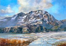 "Snowy Mountain Landscape 5""x7"" Oil Painting by Jeff Ward"