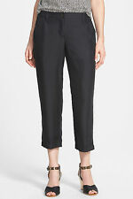 NWT $238  Eileen Fisher Black 100 % Silk Cropped Cargo Pants,SZ:M