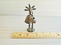 Antique Mini Silver Plated or Metal Sheet Mini Figurine 1896 Coin Base 3.75''T
