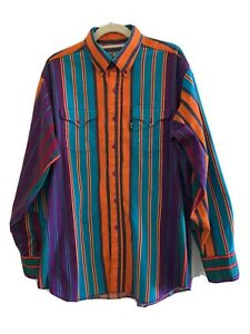Vtg Brooks & Dunn Panhandle Slim Multicolored Striped Western Button Up Shirt