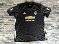 Manchester United 2017-2018 Away Black Chevrolet Adidas Jersey Shirt Top 2XL