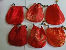 """Lot Of 10 Red Silk Satin Brocade Jewelry Coin Pouch Gift Bags 4"""" Assorted"""