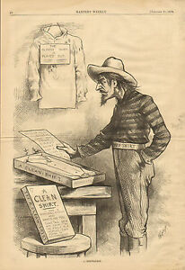 Th. Nast, Political Cartoon, Red Shirt, Solid South, Vintage, Antique Art Print,