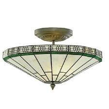 SEARCHLIGHT NEW YORK UPLIGHTER CEILING LIGHT HAND MADE STAINED GLASS 4417-17
