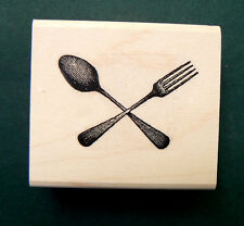 P7  Spoon & Fork Miniature Rubber stamp 1.5x1