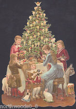 FAMILY CHRISTMAS TREE TOYS PETS VICTORIAN SCRAP GERMANY PAPER CARD EMBOSSED