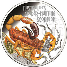 SPIDER HUNTING SCORPION Australia Deadly Dangerous Silver Coin 1$ Tuvalu 2014