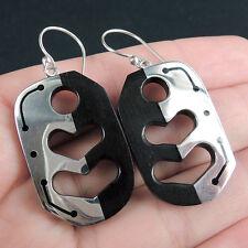 EBONY WOOD & 925 Sterling Silver Earrings Jewelry, CONTEMPORARY WOODEN