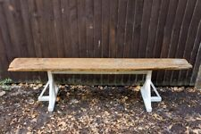 Rustic wooden bench handmade from upcycled eco-friendly vintage scaffold board