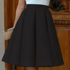 Women Plus Size Vintage Stretch High Waist Plain Flared Pleated Skater Skirt