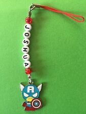 CAPTAIN AMERICA  DS MOBILE PHONE CHARM PERSONALISED ANY NAME PARTY GIFT