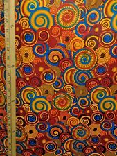 ORANGE RED MULTICOLOR African Print 100% Cotton Fabric (44 in.) Sold BTY