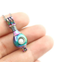 "C595 Rainbow Stainless Necklace 18"" Rainbow Perfume Bottle Beads Cage"