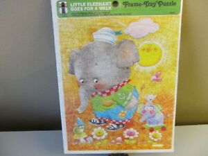 1979 VTG The Rainbow Works Frame Tray Puzzle Little Elephant goes for a Walk-