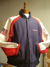 Snap-On Tools Letterman Jacket w/American Flag-Wool/Leather-Mens Large-Coat