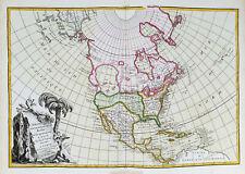 1785 ZANNONI - rare map NORTH AMERICA, UNITED STATES, TEXAS, CANADA, MEXICO, USA