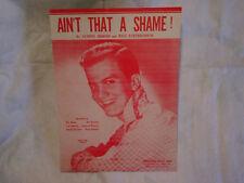 1955 PAT BOONE AIN'T THAT A SHAME! SHEET MUSIC,antoine domino,dave bartholomew